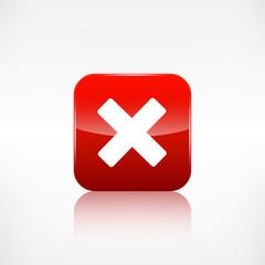 Delete web icon. Close symbol. Application button.