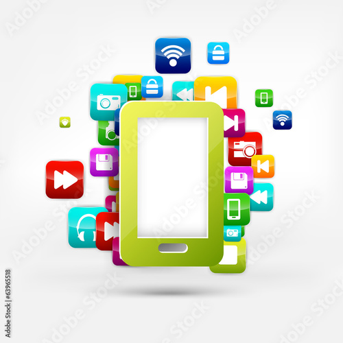 Application button.Social media.Cloud computing.