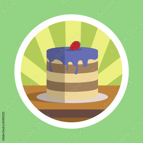 Tasty Cake With Strawberry Illustration
