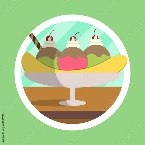 Delicious Banana Split Illustration