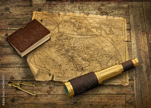 Old world map with telescope - 63966126