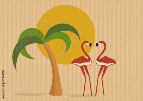 palm tree, sun and two flamingos