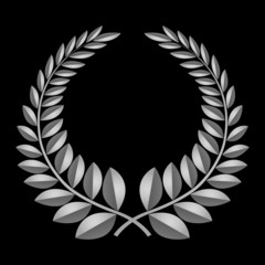 Grey laurel icon, isolated on black background