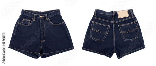 dark denim shorts on isolated white background