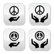 Peace sign with hands icons set