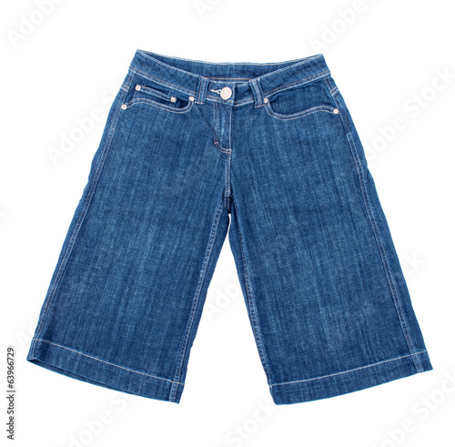 blue jean shorts on isolated white background