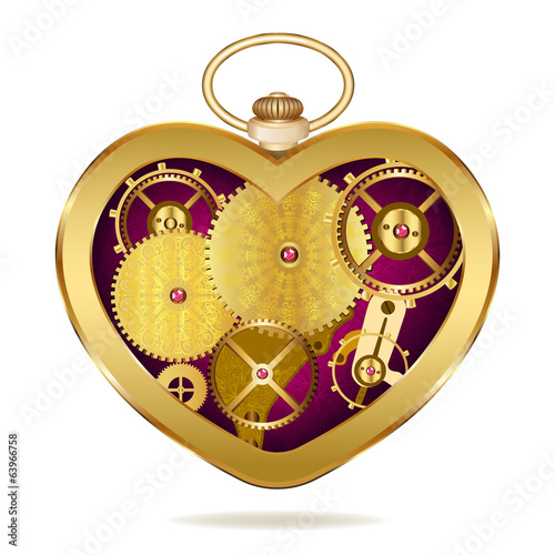 Clockwork heart-shaped clock. Isolated on white background. Orig