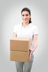Female worker delivering packages