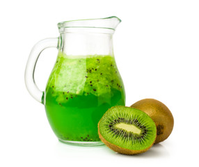 drink with kiwi  in a glass jug