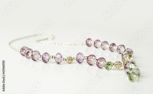 necklace made of transparent amethyst and prasiolite