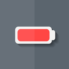 Full battery icon. Accumulator. Flat design.