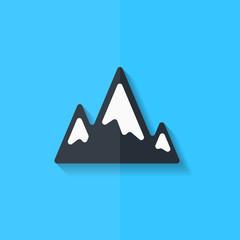 Mountains web icon. Flat design.