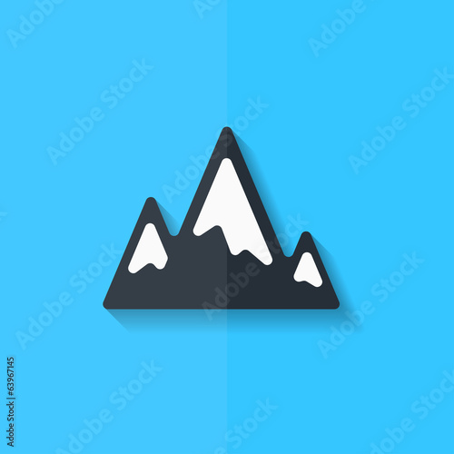 Mountains web icon. Flat design.