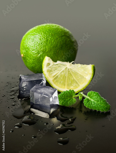 lime and mint with ice cubes