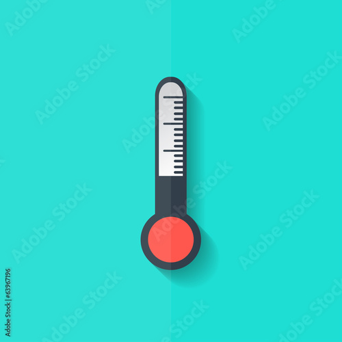 Thermometer web icon. Flat design.