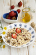 Muesli with fresh strawberry