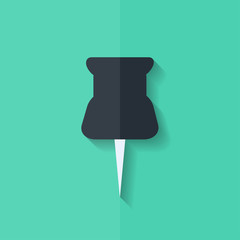 Pushpin web icon. Flat design.