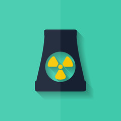 atomic power station icon. Flat design.