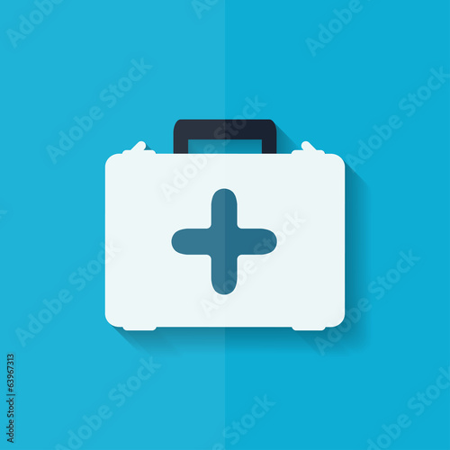 first aid kit icon. Flat design.