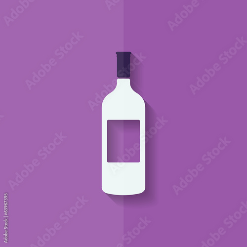 Wine bottle icon. Flat design.