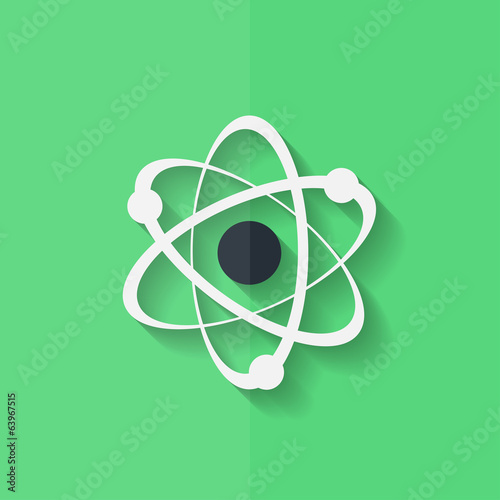 Molecule, atom icon. Flat design.