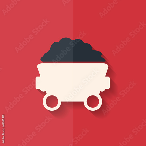Mining coal cart icon. Flat design.