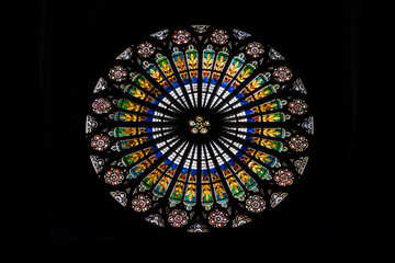 Stained glass inside famous Strasbourg cathedral
