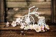 apricot blossoms and decorative bicycle