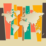 vector World map paper 3D retro background