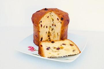 Christmas italian fruit-cake panettone partially sliced - 1.