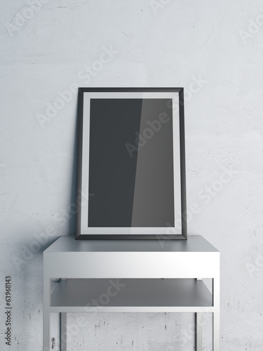 black frame on shelf