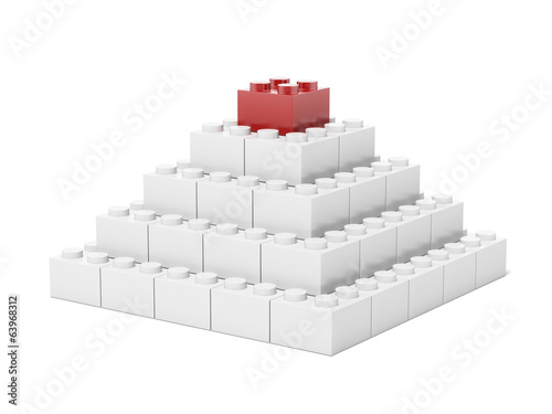 White Pyramid made of toy brick blocks