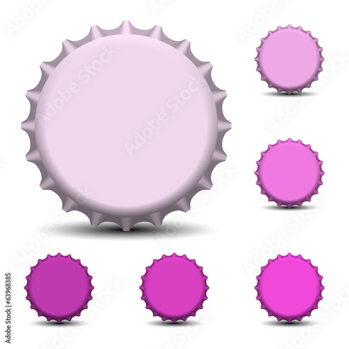 Bottle caps isolated on white background