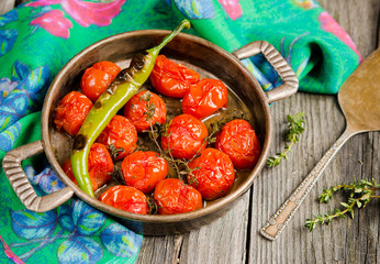 Roasted Tomatoes and green chillies