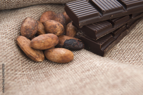 Cocoa (cacao) beans with chocolate