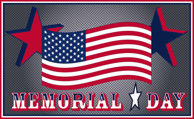 Memorial day united states flag steel background US, USA, vector