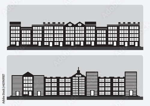 Town cities silhouette icon set