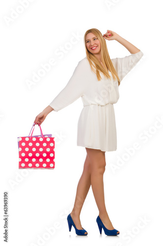 Woman after shopping isolated on white