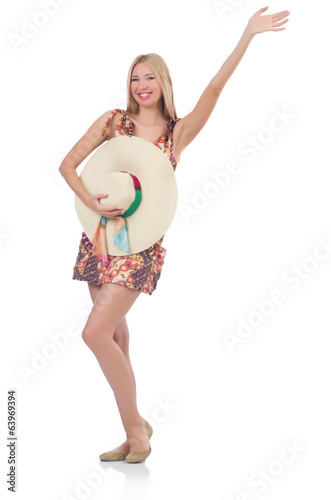 Beautiful dancing woman in summer dress  saluting isolated on wh