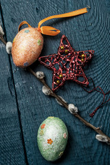 Easter composition with eggs and branches of a willow