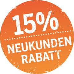 Runder Button 15% Neukundenrabatt