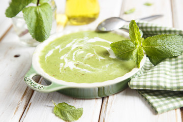 Fresh basil and mint cold soup
