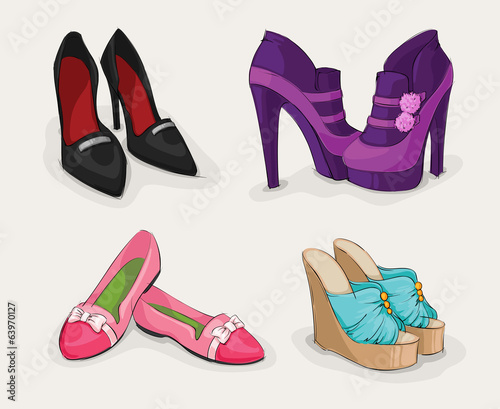 canvas print picture Fashion collection of woman's shoes