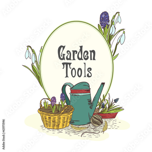 Hand drawn gardening tools emblem