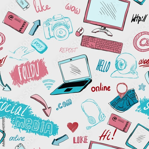 Seamless doodle social media background - 63970151