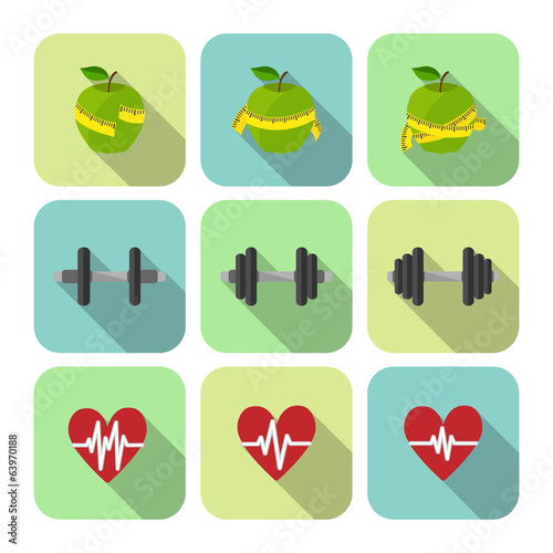Fitness sport exercises progress icons set