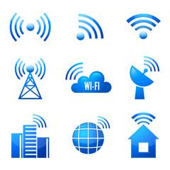 Wi-Fi glossy icons set