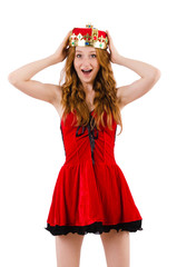 Redhead girl with crown isolated on white