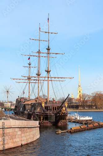 sailing ship against the Peter and Paul fortress, St Petersburg