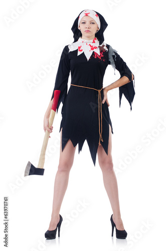 Woman devil with axe  isolated on white